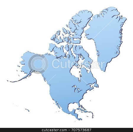Map of Nouth America stock photo, North America map filled with light blue gradient. High resolution. Mercator projection. by Jiri Moucka