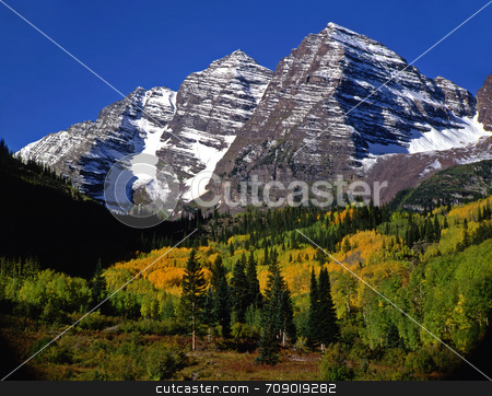 Maroon Bells No Clouds stock photo, The Maroon Bells in the White River National Forest of Colorado. by Mike Norton