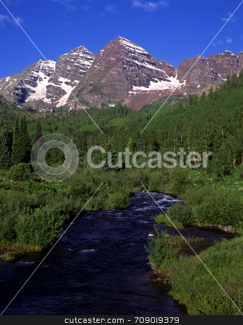 Maroon Bells and Maroon Creek stock photo, The twin peaks of the Maroon Bells & Maroon Creek in The White River National Forest in Colorado. by Mike Norton