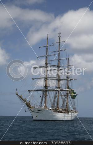 White Sail Ship stock photo, The