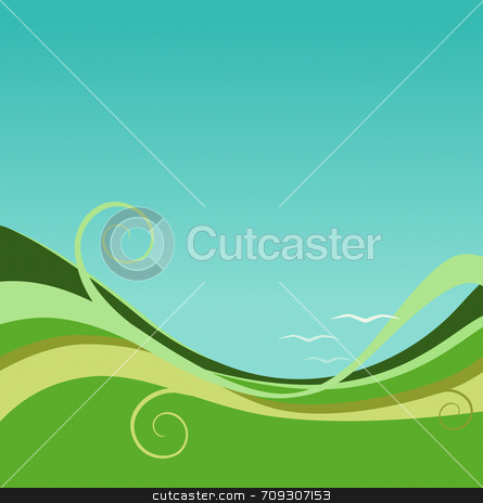 Earth and Sky Abstract Background stock photo, An earth and sky abstract background. Green, blue and with birds! by Daniel Wiedemann