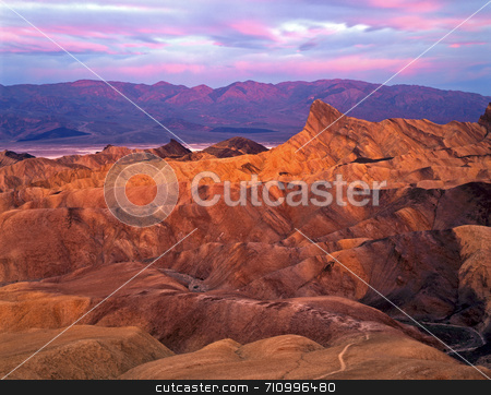 Manley Beacon Zabrisiki Point stock photo, Manley Beacon photographed at sunrise from Zabrisiki Point in Death Valley National Park, California. by Mike Norton