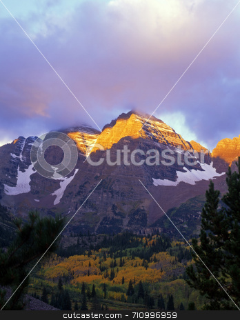 Maroon Bells Streak stock photo, The Maroon Bells in the White River National Forest of Colorado. by Mike Norton