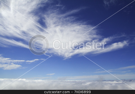 Sky above clouds stock photo, Photo of the clouds taken from a mountain top, with more clouds above it. by Daniel Wiedemann