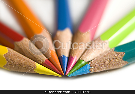 Coloured Pencils stock photo, A macro shot of seven bright coloured pencils. by Daniel Wiedemann