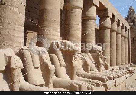 Egyptian lion statues stock photo, Various scenes of Luxor, in Egypt. Including the Karnak and Luxor Temple, Hatshepsut Temple and statues. by Daniel Wiedemann