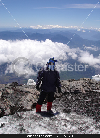 Mountain Climber stock photo, A young man on his way up a volcano in Chile. by Daniel Wiedemann