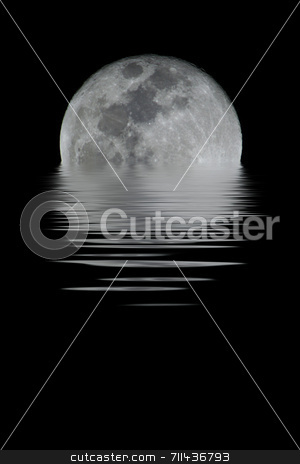 Full Moon stock photo, A detailed full moon. You can see all craters and details.  (with water reflection) by Daniel Wiedemann