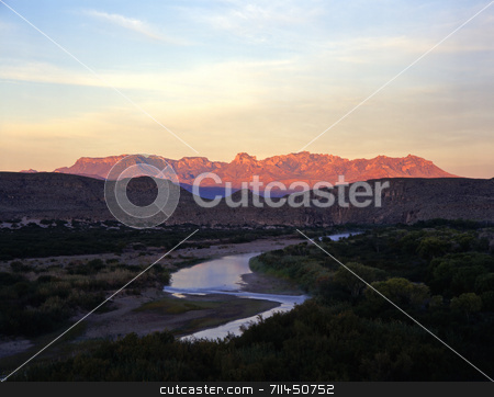 Mexico Texas Border stock photo, The Rio Grande River, the border between the United States and Mexico photographed from Big Bend National Park, Texas. by Mike Norton
