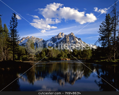 Mt. McGown and Clouds stock photo, Mt. McGown in the Sawtooth National Forest of Idaho. by Mike Norton