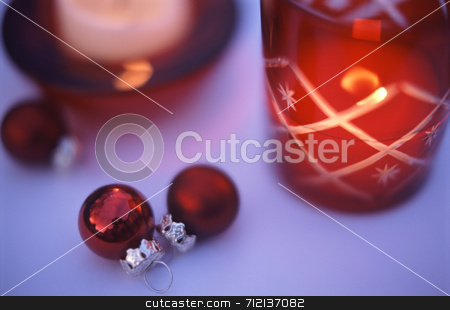 Festive Still Life Red stock photo, Arrangemet of red christmas decorations by Stephen Gibson