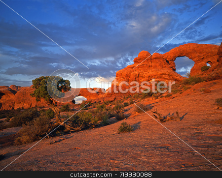 North Window and Turret Arches stock photo, North Window & Turret Arches in Arches National Park, Utah. by Mike Norton