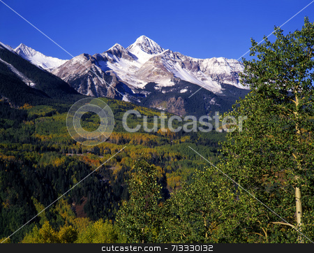 Mt. Wilson stock photo, Mt. Wilson in the Uncompahgre National Forest of Colorado, photographed during the autumn season. by Mike Norton
