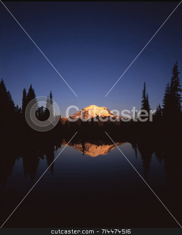 Mt. Rainier stock photo, Mt. Rainier and Tipso Lake in Mt. Rainier National Park located in Washington State. by Mike Norton