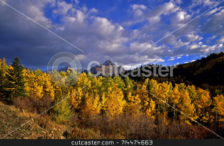 Mt. Sneffels stock photo, Mt. Sneffels in the Uncompahgre National Forest of Colorado, photographed during the autumn season. by Mike Norton