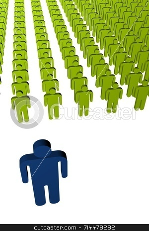 Man Leadership (vertical) stock photo, A concept image of workers. A blue leader in front of a green crowd. by Daniel Wiedemann