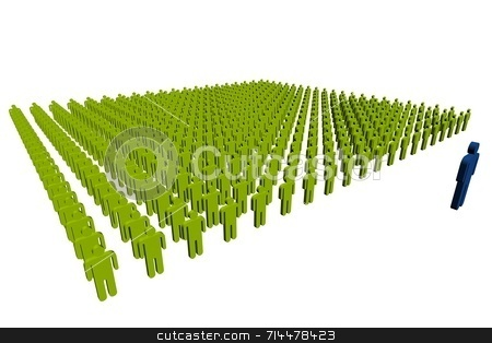 Leadership stock photo, A concept image of workers. A blue leader in front of a green crowd. by Daniel Wiedemann
