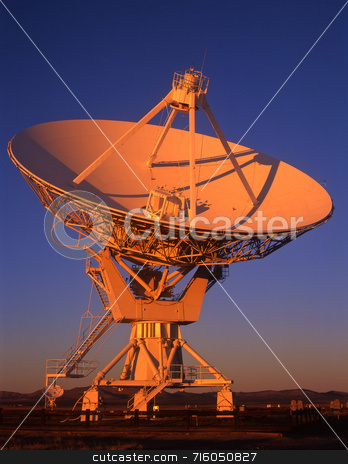 Radio Telescope Evening stock photo, A radio telescope part of the VLA, Very Large Array, in New Mexico. by Mike Norton