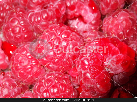 Raspberries stock photo, A close-up of a punnet of juicy pink raspberries by Philippa Willitts