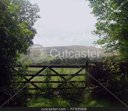 Gate to the Countryside stock photo, View through a farm gate to the British countryside by Philippa Willitts
