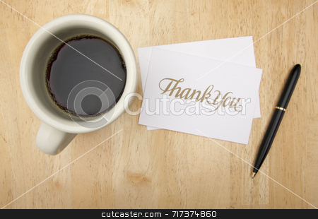 Thank You Note Card, Pen and Coffee stock photo, Thank You Note Card, Pen and Coffee Cup on Wood Background by Andy Dean