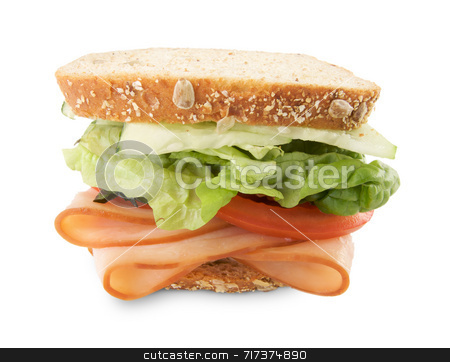 Hearty Sandwich Isolated on White stock photo, Hearty Sandwich Filled with Vegetables and Sliced Meat Isolated on White. by Andy Dean