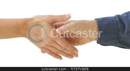 Man and Woman Shaking Hands stock photo, Man and woman shaking hands on a white background. Clipping path is included. by Andy Dean