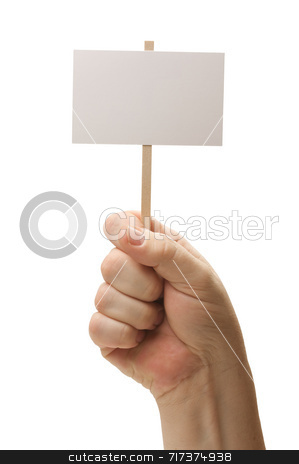 Blank Sign In Fist On White stock photo, Blank Sign In Fist Isolated on A White Background. by Andy Dean