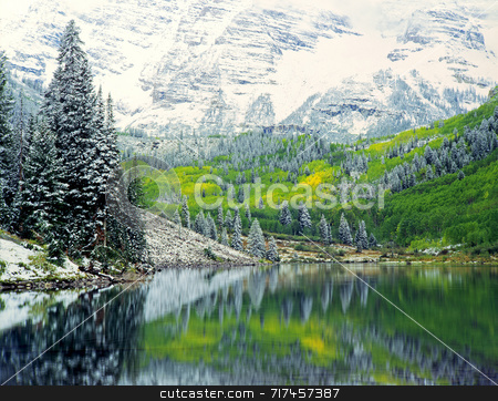September Snow stock photo, Snow in September, while the leaves are changing, in the White River National Forest of Colorado. by Mike Norton