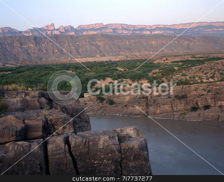 Sierra Del Carmen and Rio Grande stock photo, The Sierra Del Carmen, in Mexico, photographed from Big Bend National Park in Texas. by Mike Norton