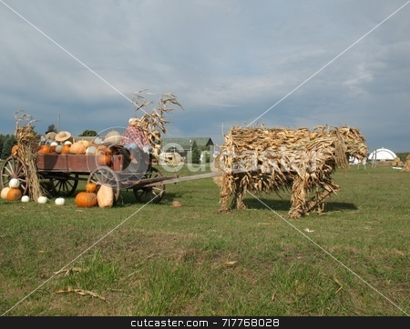 Harvest Time stock photo, A wagon made up of many materials from the materials of the fall harvest. by Ray Carpenter