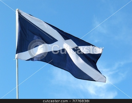National Flag of Scotland stock photo, This flag is the cross of St. Andrew. It is said to be the oldest national flag of any country. Dates back to the 12th Century. by Ray Carpenter