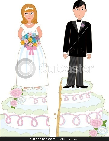 Divorce Cake stock photo, Bride and groom standing on a wedding cake that has split down the middle suggesting a divorce. by Maria Bell