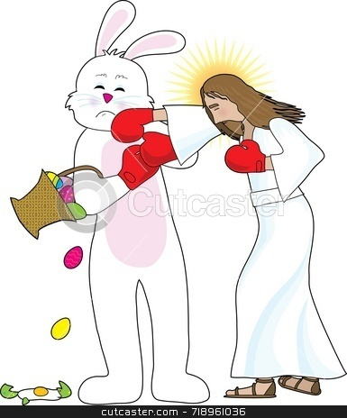 Jesus versus The Bunny stock photo, Jesus fighting with the Easter Bunny - he is the winner over commercialism by Maria Bell
