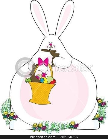 Fat Bunny stock photo, A fat bunny eating the chocolate bunnies in his basket by Maria Bell