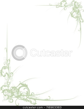 Scroll Border Green stock photo, Fancy green scroll floral corners for design by Maria Bell