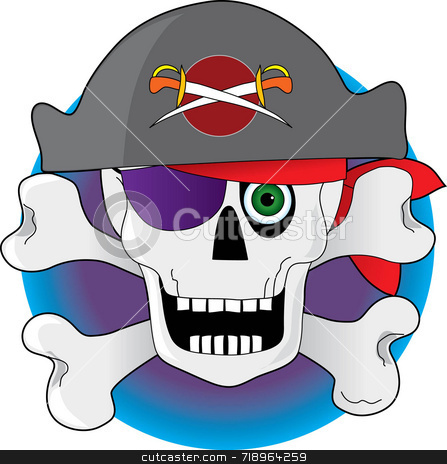Pirate Skull stock photo, Skull and crossbones pirate with eye patch by Maria Bell