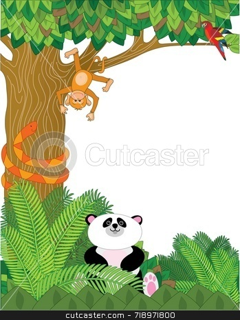 Zoo Border stock photo, A border with zoo animals - panda, snake, orangutan, and parrot by Maria Bell