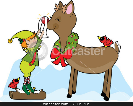 Elf and Rudolf stock photo, A little elf shining Rudolf the Reindeer's nose by Maria Bell