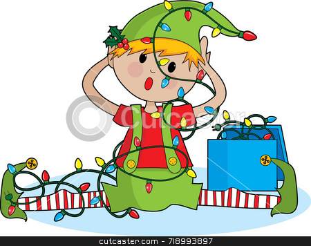 Elf Lights stock photo, A cute little elf tangled in Christmas lights by Maria Bell