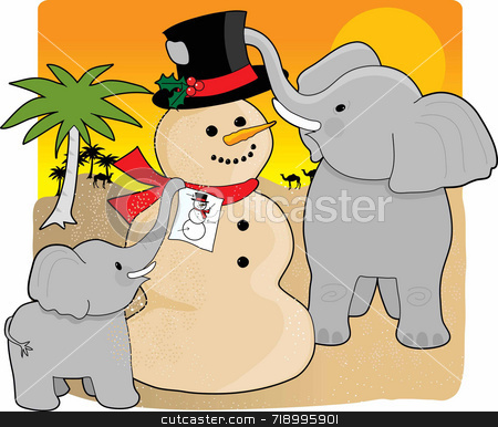 Christmas in the desert stock photo, A mother elephant and baby in the desert building a snowman made  of sand by Maria Bell