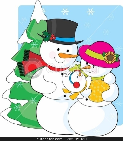 Snowman Family stock photo, A snowman couple holding their new snaowman baby by Maria Bell