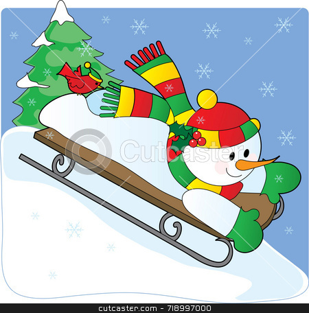 Snowman Sled stock photo, A snowman sledding down a hill with a cardinal on his foot by Maria Bell