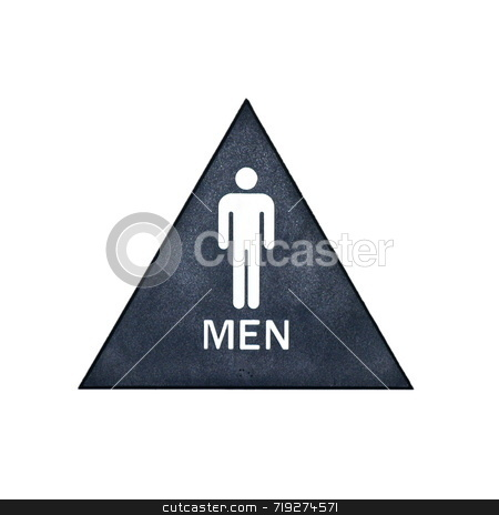 Mens bathroom sign stock photo, A blue, white, and gray restroom sign for men by Henrik Lehnerer