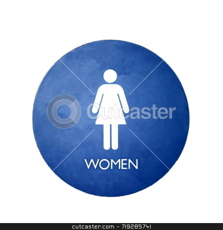Women stock photo, A blue and white sign for a women's bathroom by Henrik Lehnerer