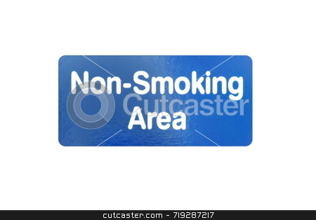 Non Smoking Area stock photo, A blue and white sign for Non Smoking Area by Henrik Lehnerer