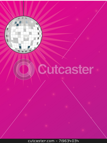 Disco Ball stock photo, A shiny disco ball on a bright pink background with stars by Maria Bell