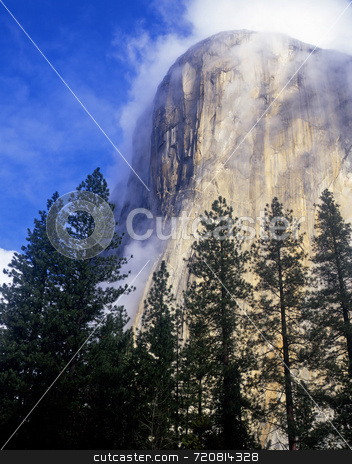 El Capitan Fog stock photo, El Capitan in Yosemite National Park, California photographed in the fog. by Mike Norton