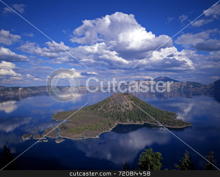 Crater Lake stock photo, Wizard Island in Crater Lake National Park, Oregon. by Mike Norton