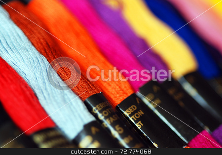 Abstract Threads stock photo, Extreme close-up of brightly coloured threads by Philippa Willitts